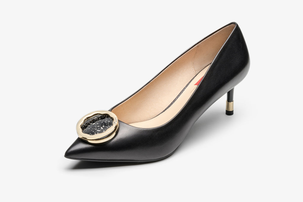 Ballet Pumps with Music Box Detail - Black
