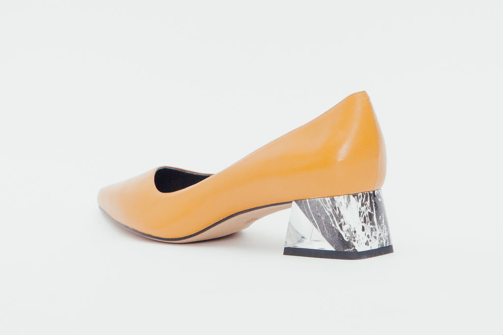 Leather Block-Heel Pumps with marble detail - Yellow