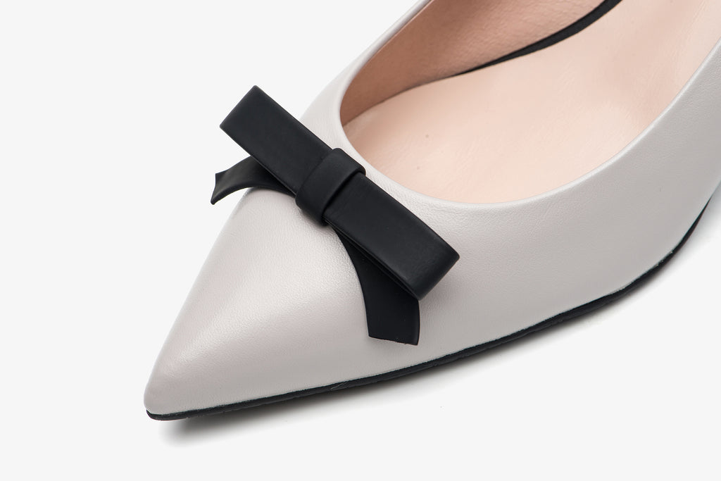 Leather Ballet Pumps with Bow Detail - Grey