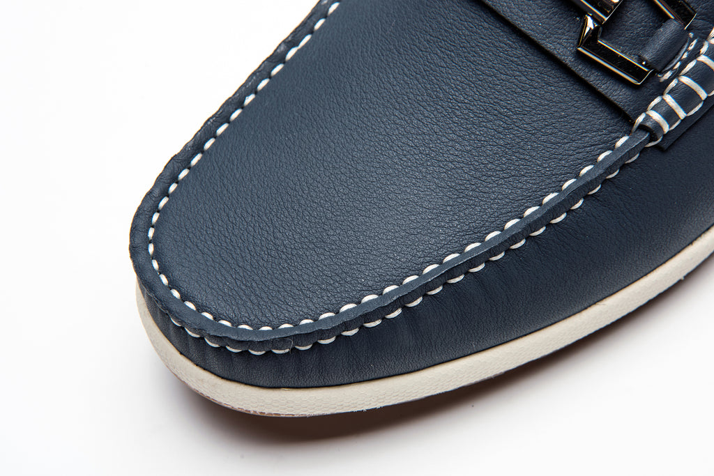 Men's Leather Driving Moccasins - Navy