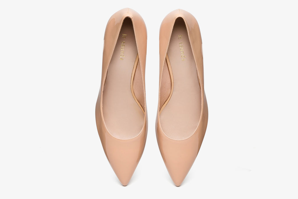 Patent Leather Pumps - Dark Beige