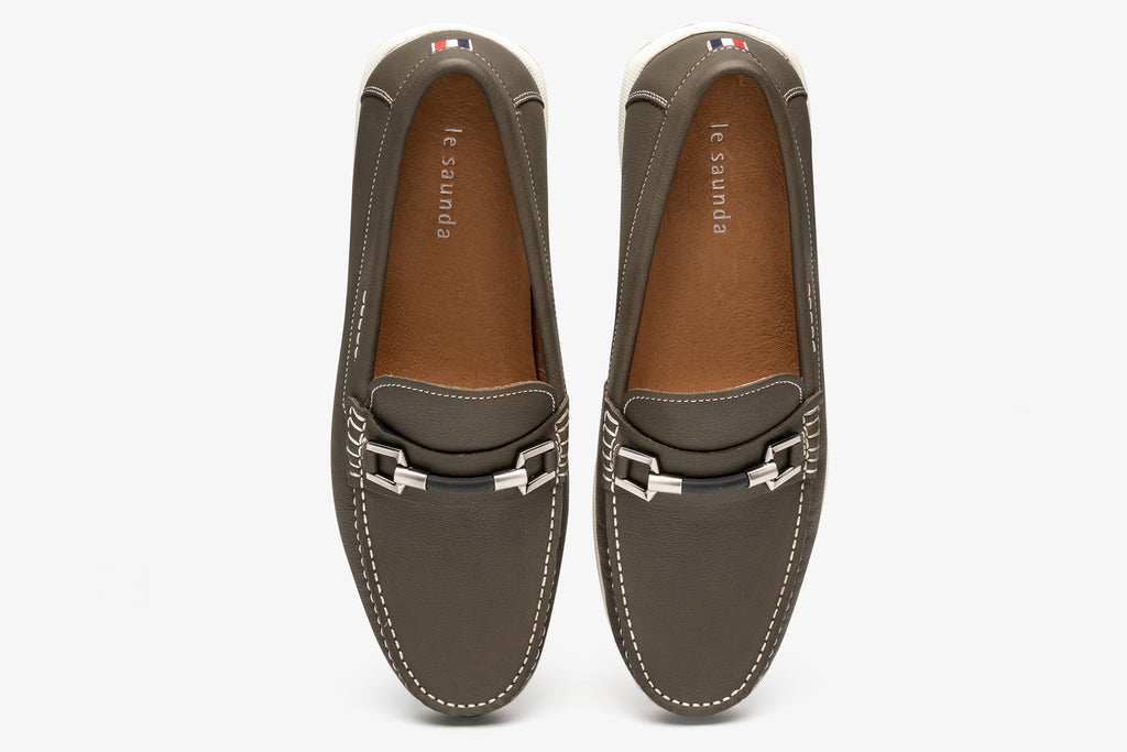 Men's Leather Driving Moccasins - khaki
