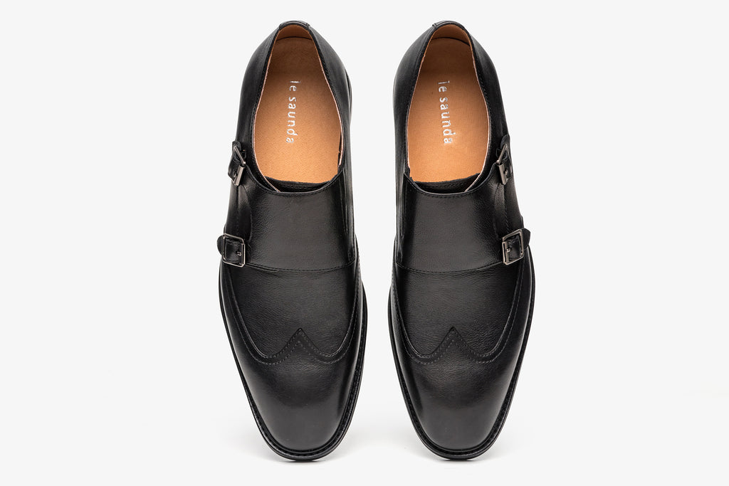 Men's Double Monk Strap Shoes - Black ATM48207