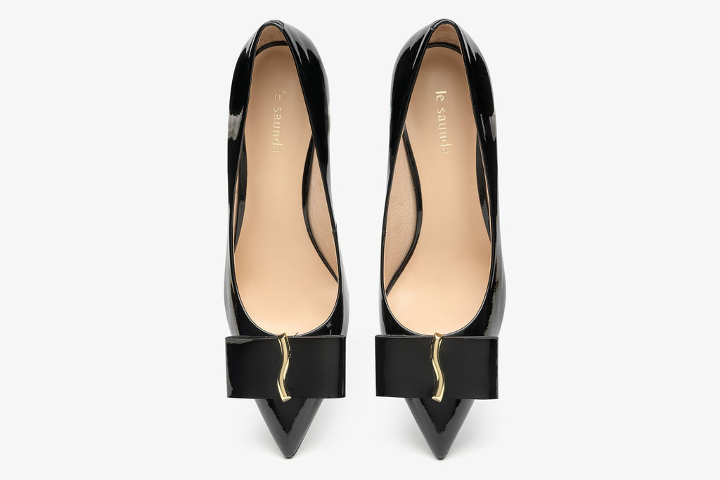 Classy Leather Shoes with Block Heels - Black AM66110 - BKP
