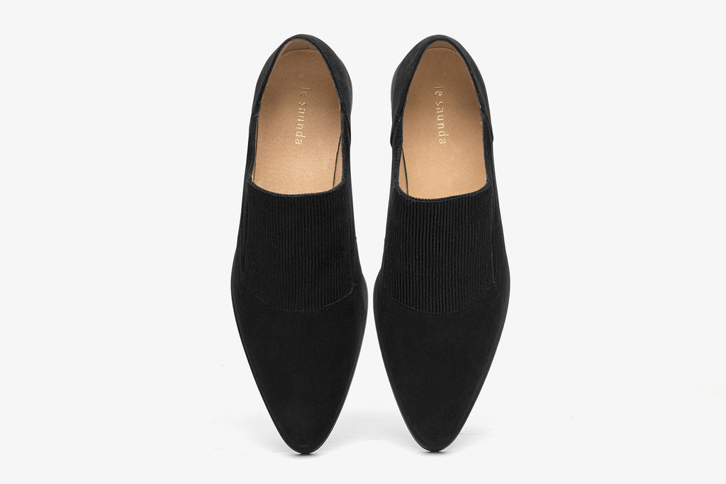 Animal Print Suede Leather Loafers - Black AT36302