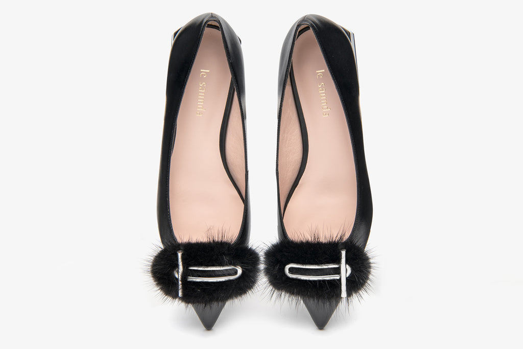 Classic Flats Shoes with Faux Fur Pom Poms detail - Black AT13022 BKK