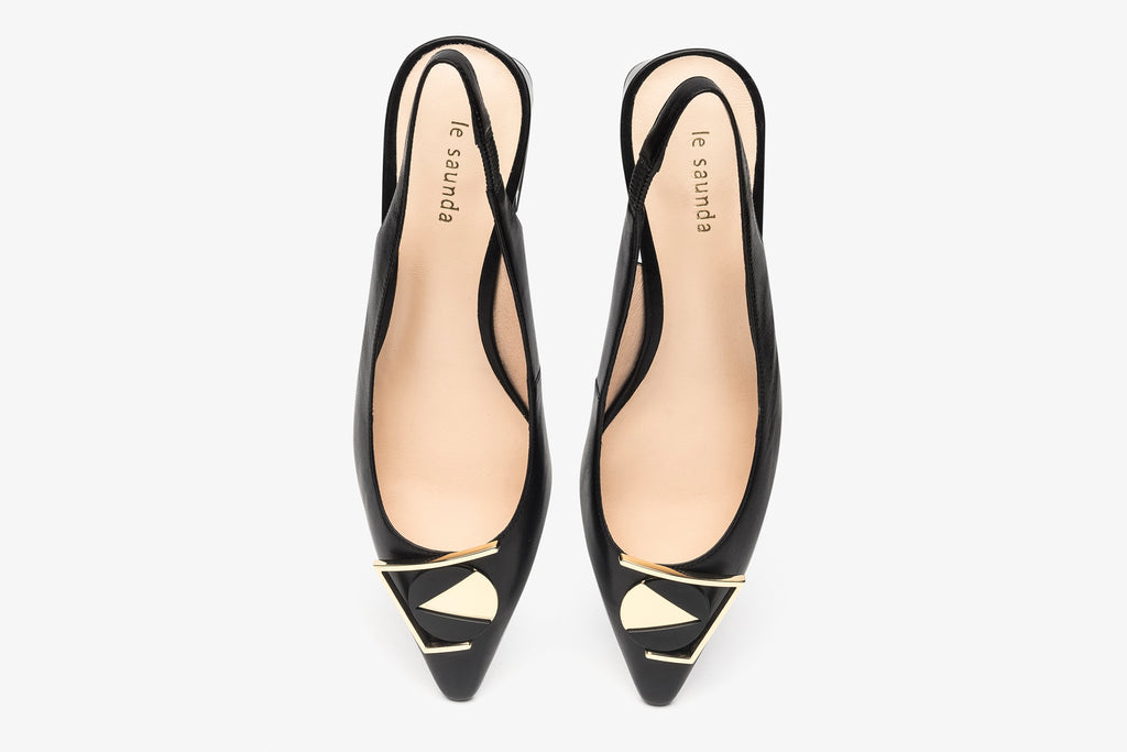 Triangle Leather Slingback Shoes with Geometric Heels - Black