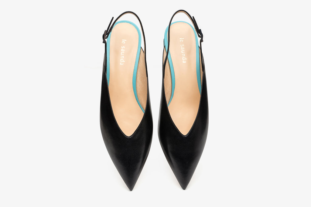 Leather Slingback Heels - Black