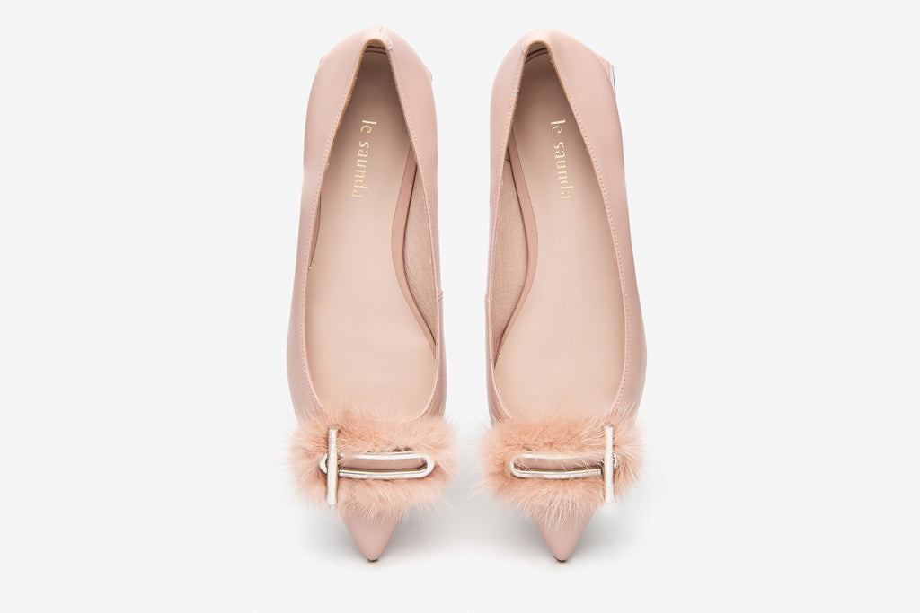 Classic Flats Shoes with Faux Fur Pom Poms detail - Pink AT13022