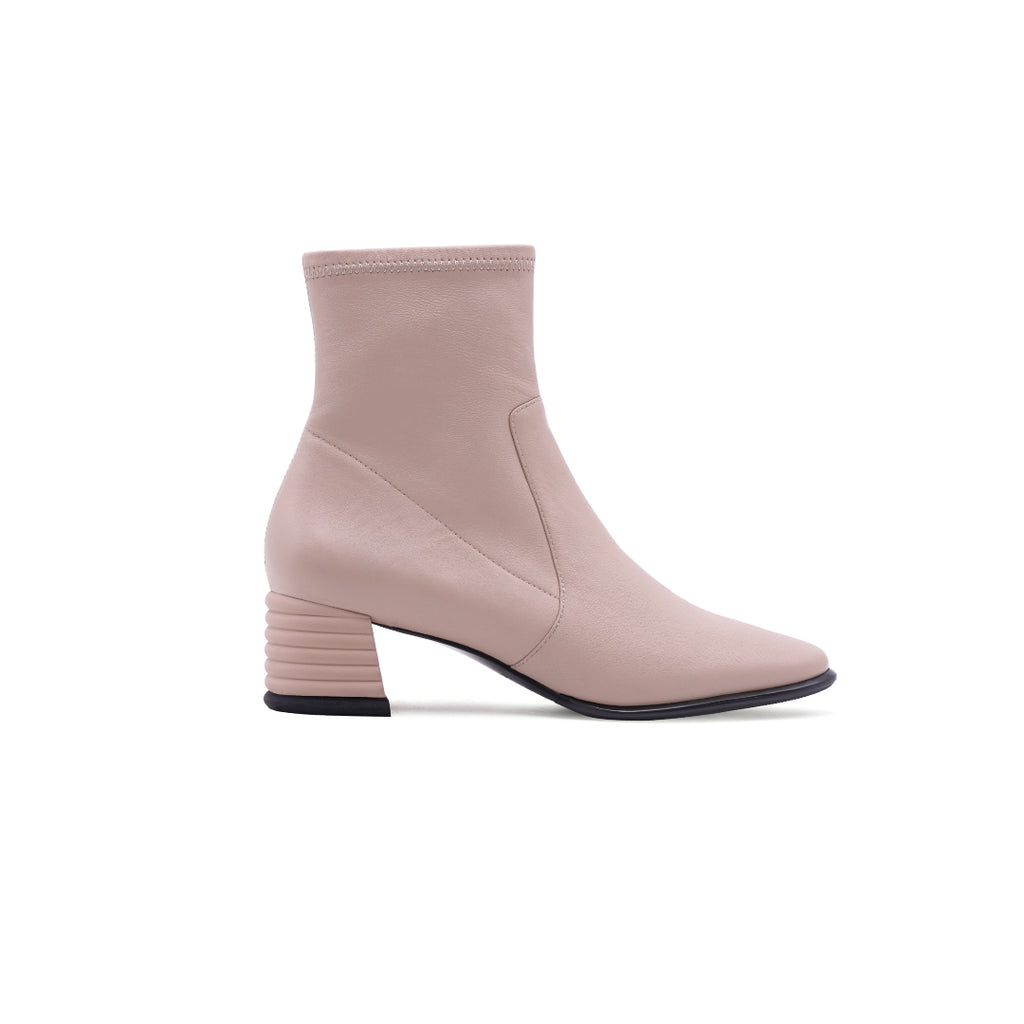Leather Block-heel Ankle Boots - Pink 1T49301BEK