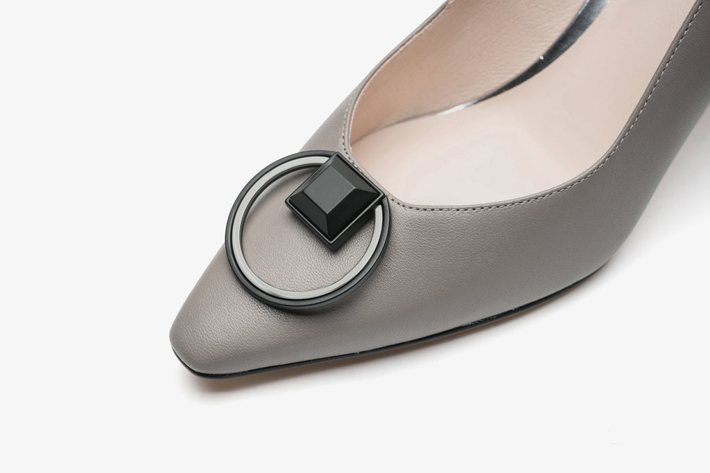 Arc Block Heels with Buckle Detail - Grey AT70202