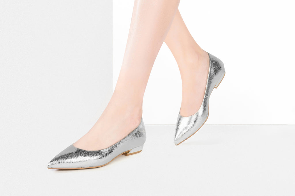 Leather Ballet Flats - Silver