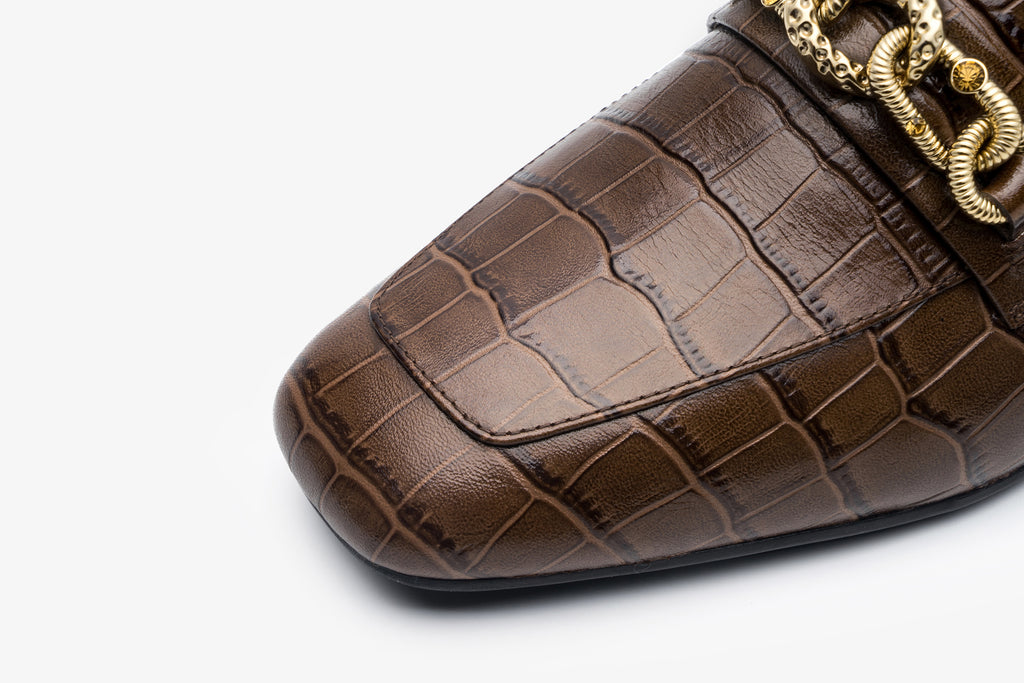 Mock Croc Buckle Loafers - Brown AT18302