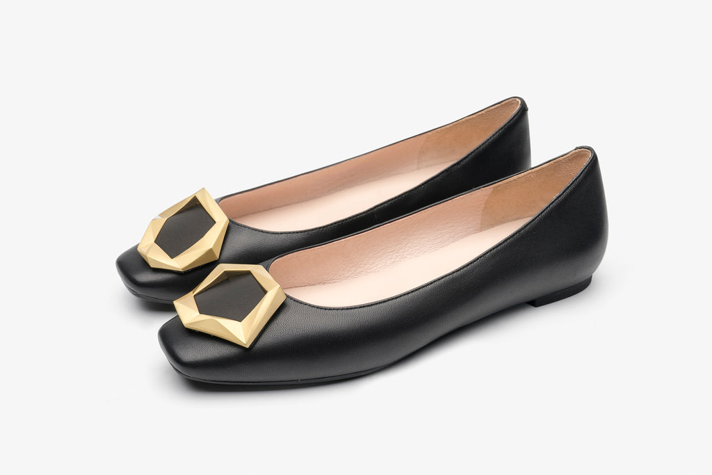 Great City Square Toe Flat Shoes - Black AT06904