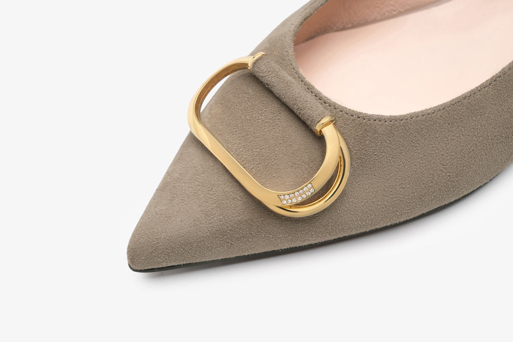 Arc Pointed Toe Flat shoes with Buckle Detail - Tapue AT13027