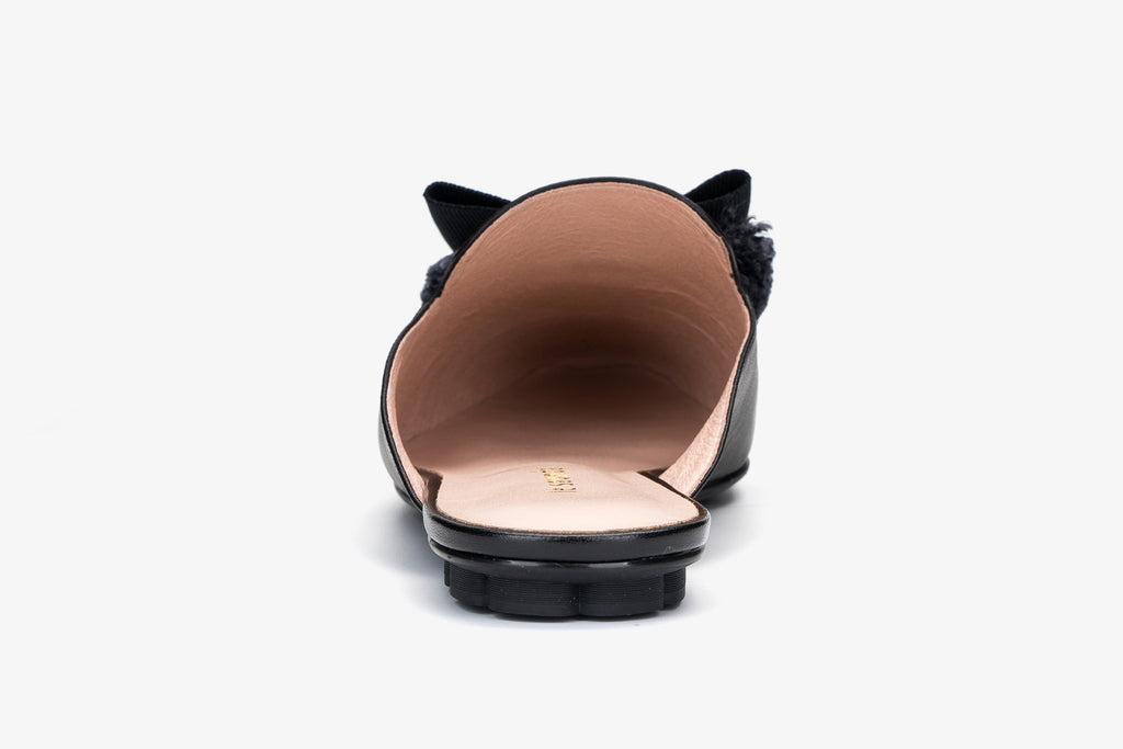 Leather Mules with Bow Detail - Black AM05801 - BKK