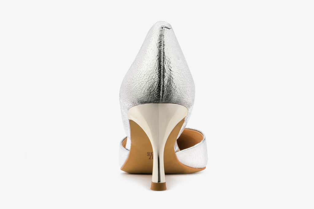 Angel Harp Leather Pumps - Silver