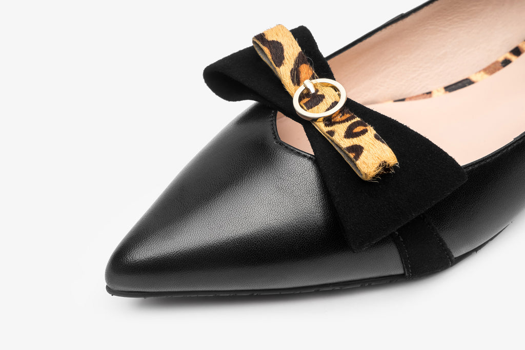 Pointed-Toe Flats With Bow and Leopard Detail - Black AT10330 BKK