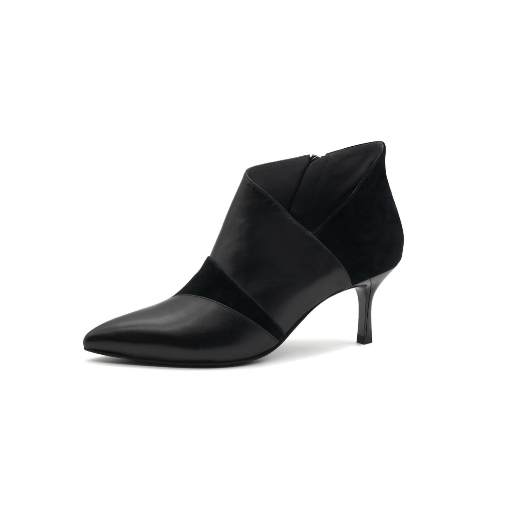 Leather High-Heel Ankle Boots - Black 1T58004BKL