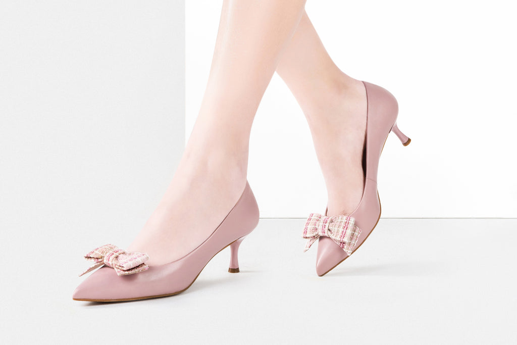 Leather Pumps with Fabric Bow Detail - Pink