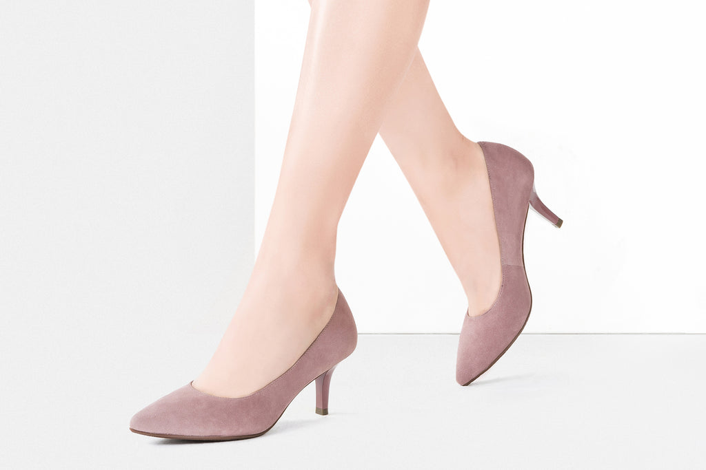 Classic Suede Leather Pumps - Dark Pink