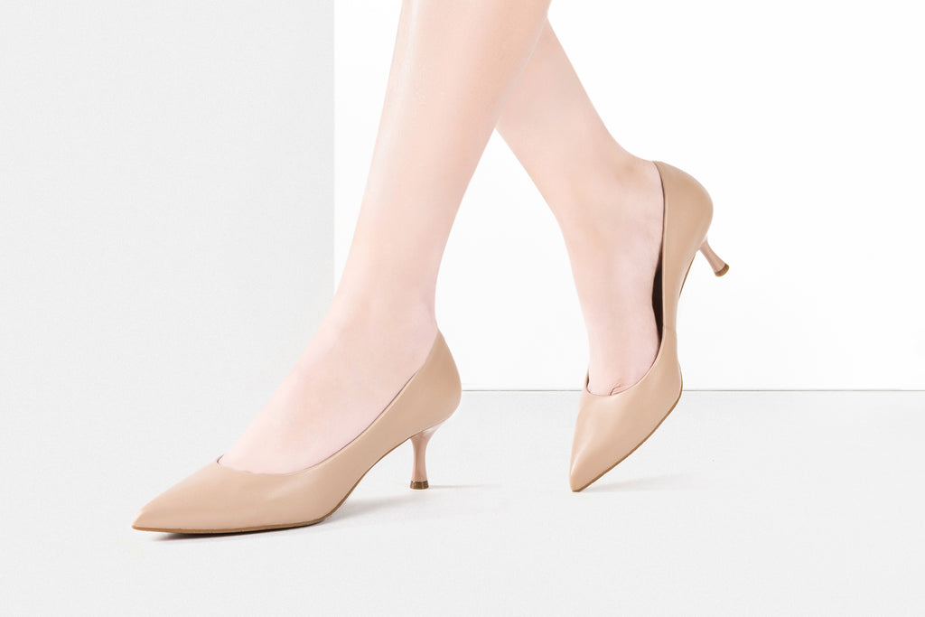 Classic leather heels - Dark Beige