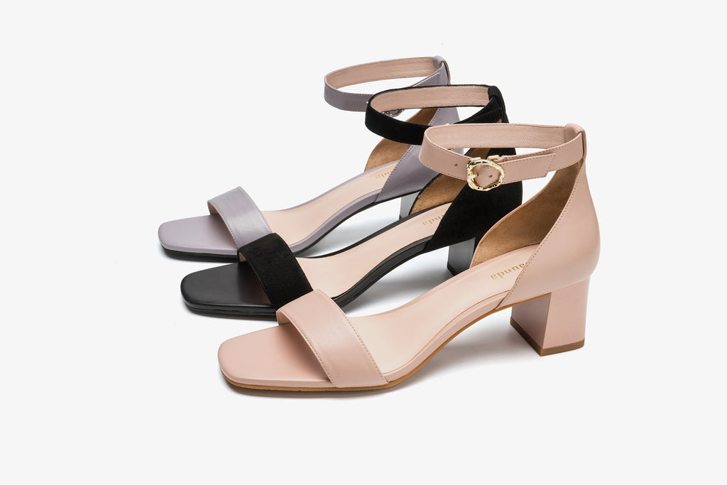 Suede Block Heel Sandals - Black AM50602 - BKS