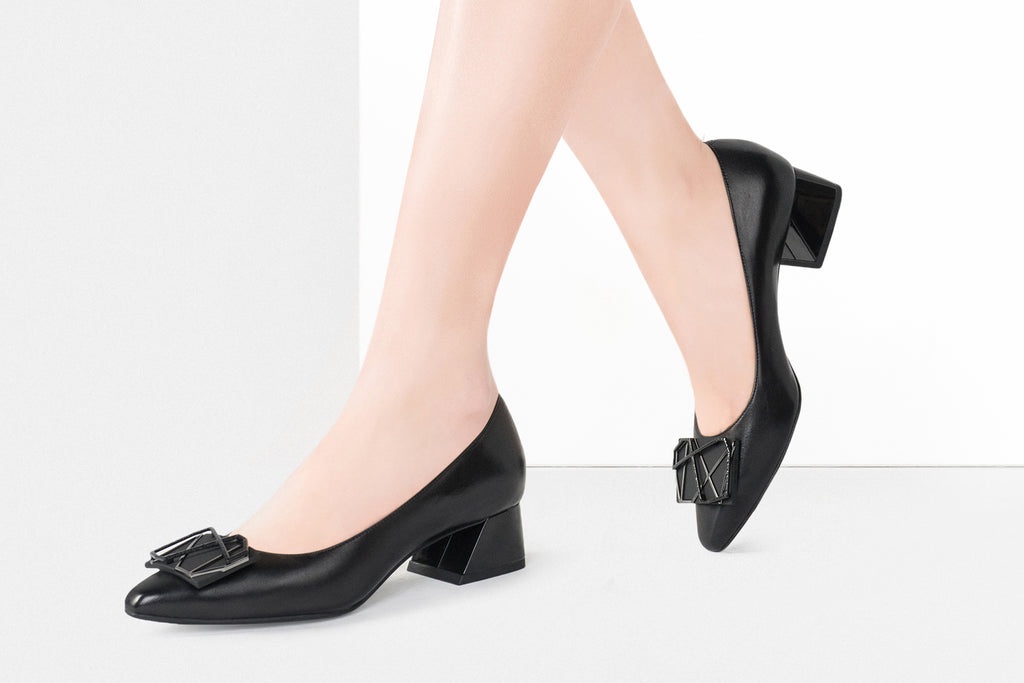 Millennium Wheel Leather Low Block Heels - Black AT37708