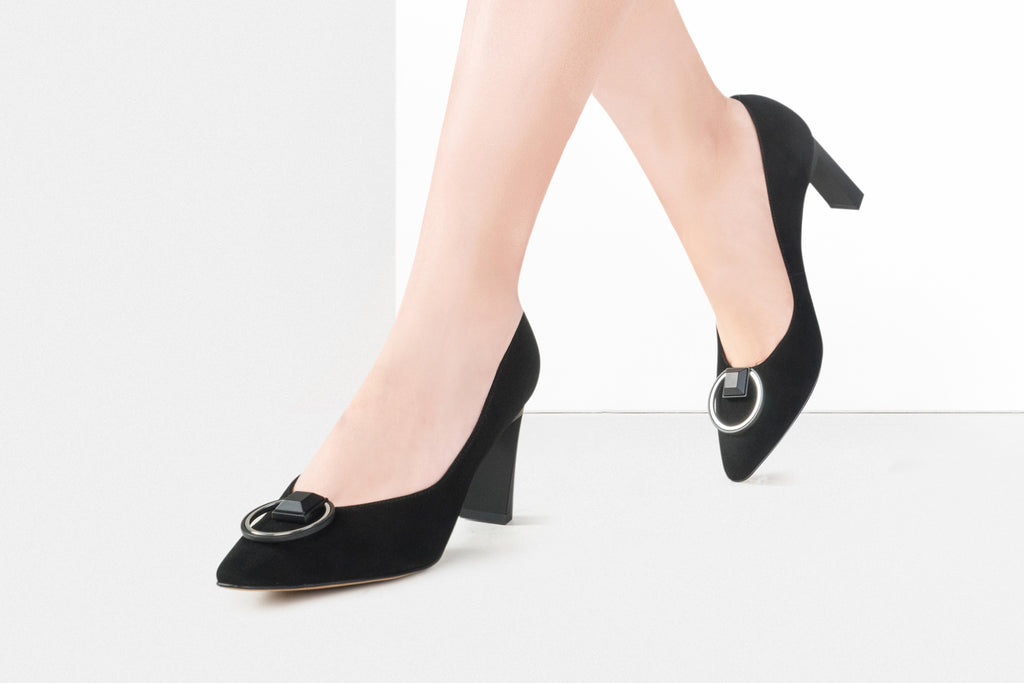 Arc Block Heels with Buckle Detail - Black AT70202