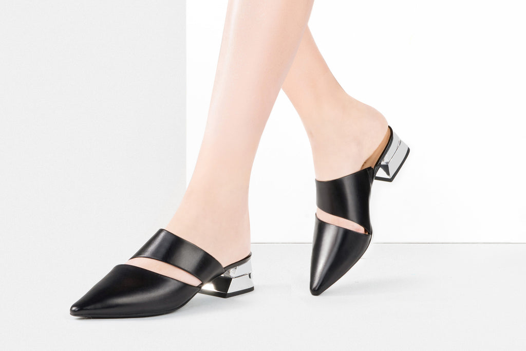 Leather Mules with Geometric Heels - Black AM40212 - BKK