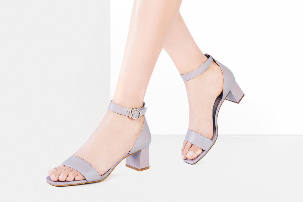 Leather Block Heel Sandals - Grey