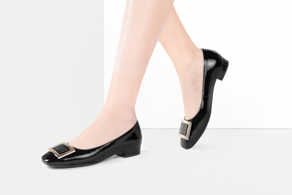 Square-Toe Buckle Patent Flat Shoes - Black AT15602