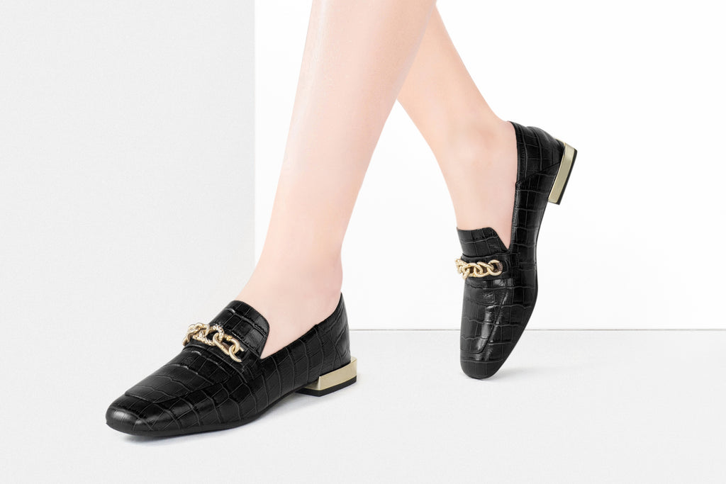 Mock Croc Buckle Loafers - Black AT18302