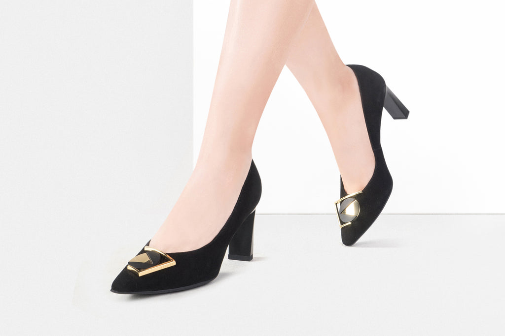 Suede Leather High Heels with Geometric Detail - Black AT70203
