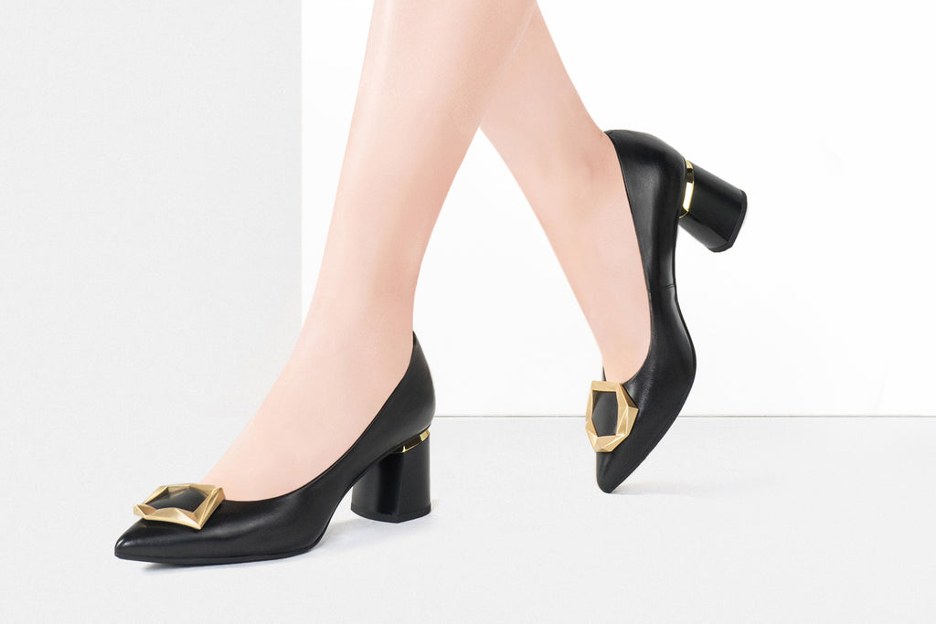 Great City Leather Block Heels - Black AT56344