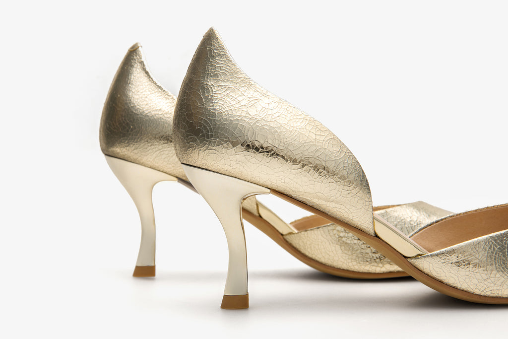 Angel Harp Leather Pumps - Gold