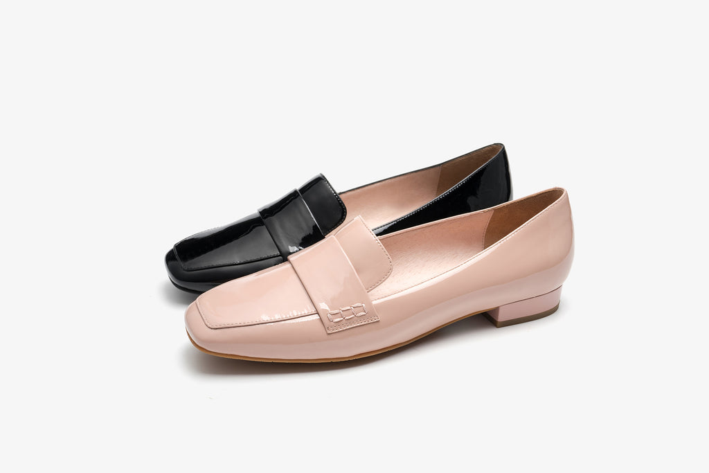 Split Patent Leather Loafers - Black