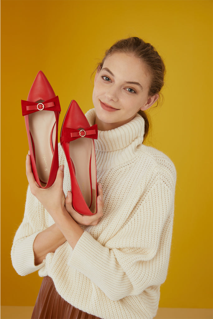 Pointed-Toe Flats With Bow and Leopard Detail - Red AT10330 RDK