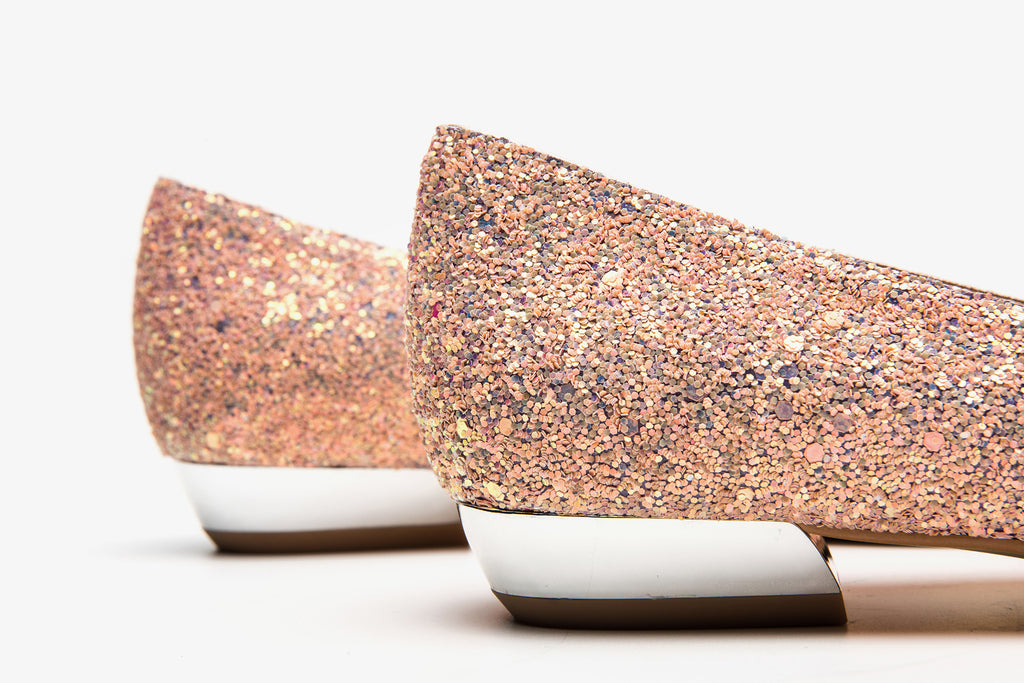 Ballet Flats With Bow Detail - Peach