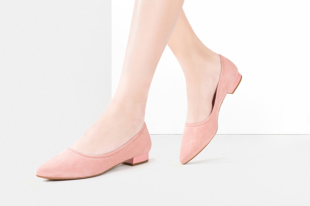 Suede Ballerina Flat Shoes - Peach