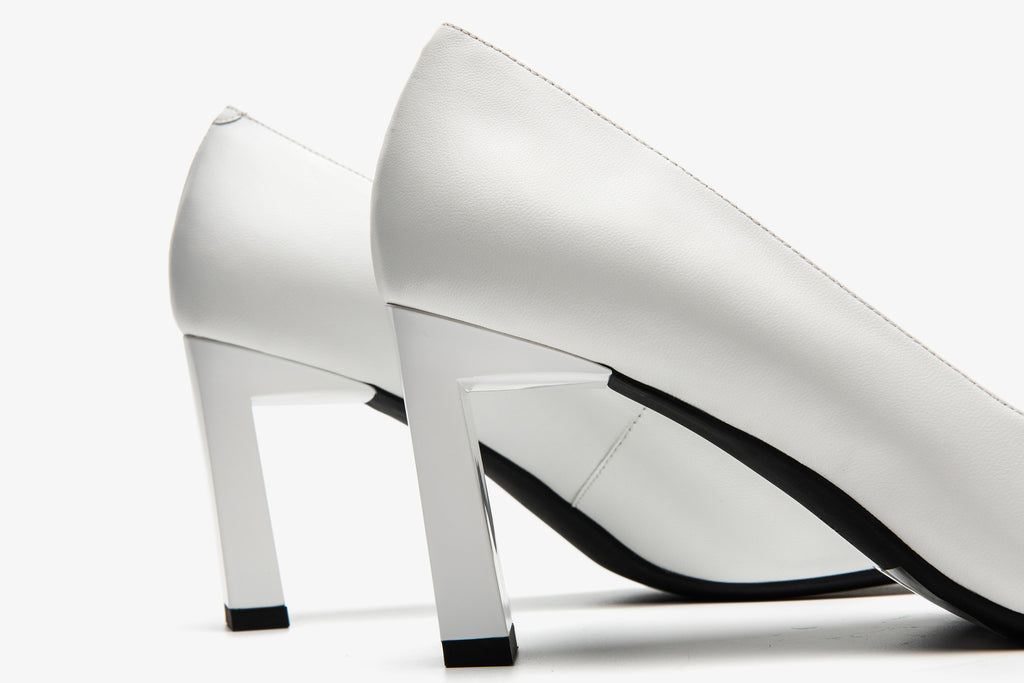 Leather High Heel Shoes with Geometric Detail - White