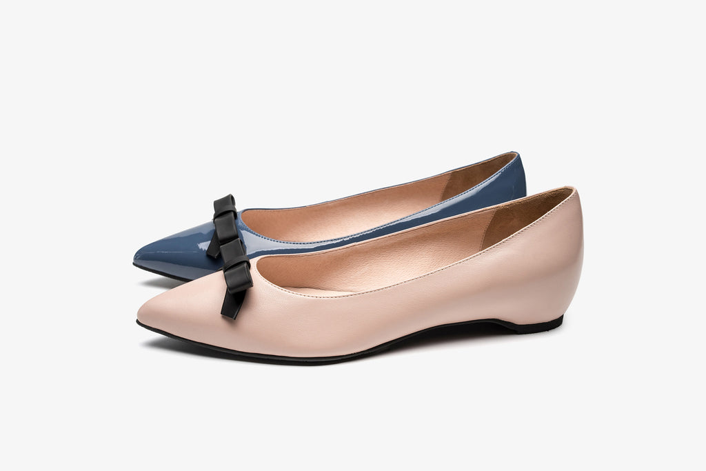 Leather Ballerinas with Bow Detail - Navy