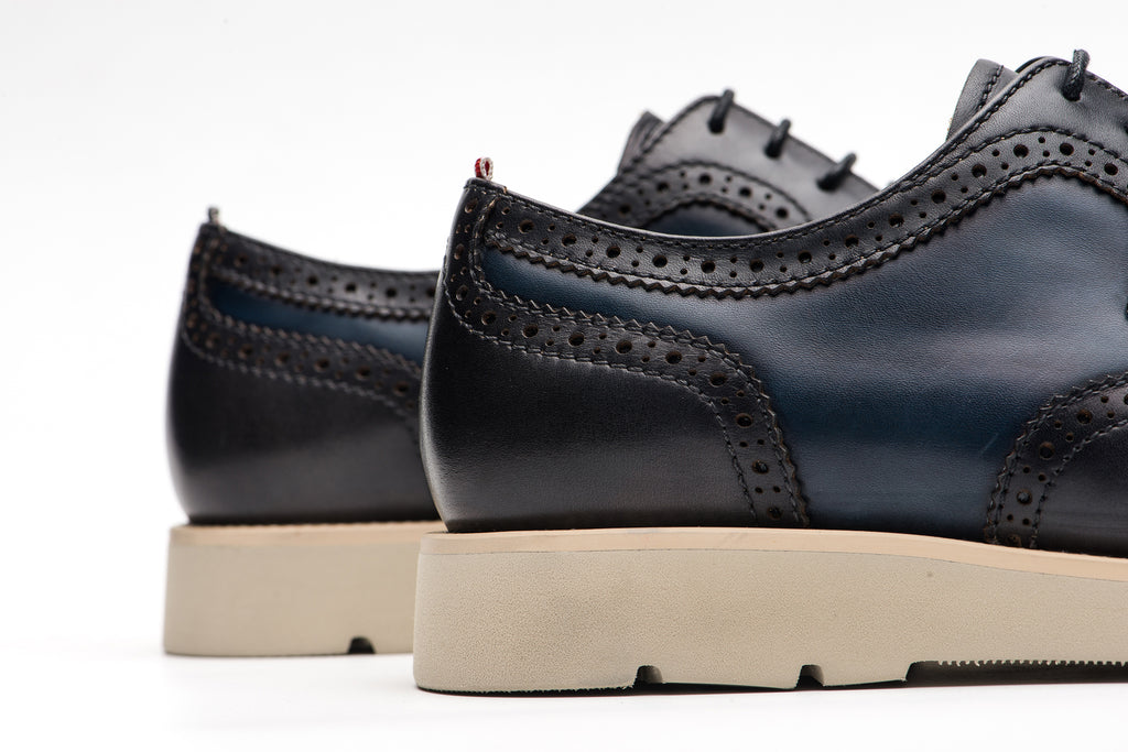 Men's Two-Tone Leather Shoes - Navy