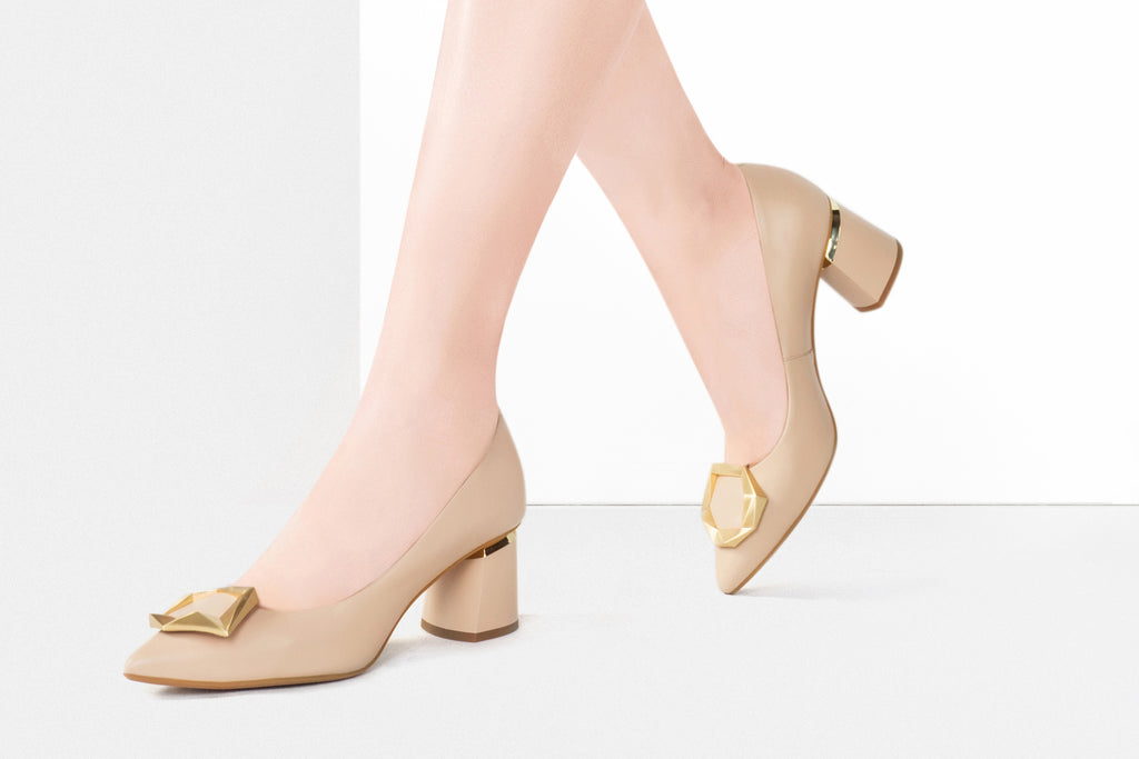 Great City Leather Block Heels -Beige AT56344