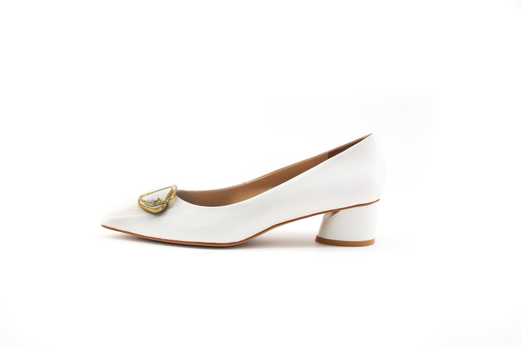 Leather Block-Heel Shoes - White 1M32720 OWK