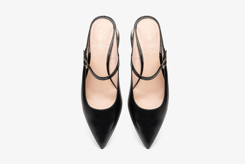 Leather Slingback Mules - Black