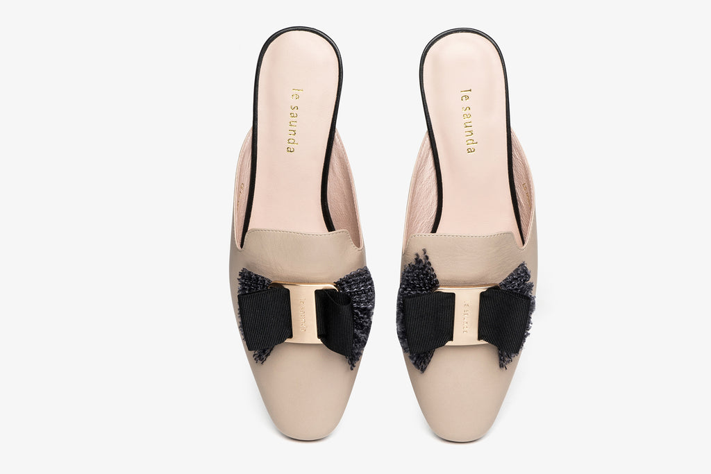 Leather Mules with Bow Detail - Dark Beige