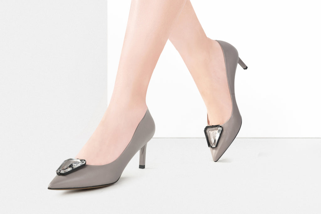 Pumps with Triangle Detail - Grey AT54107