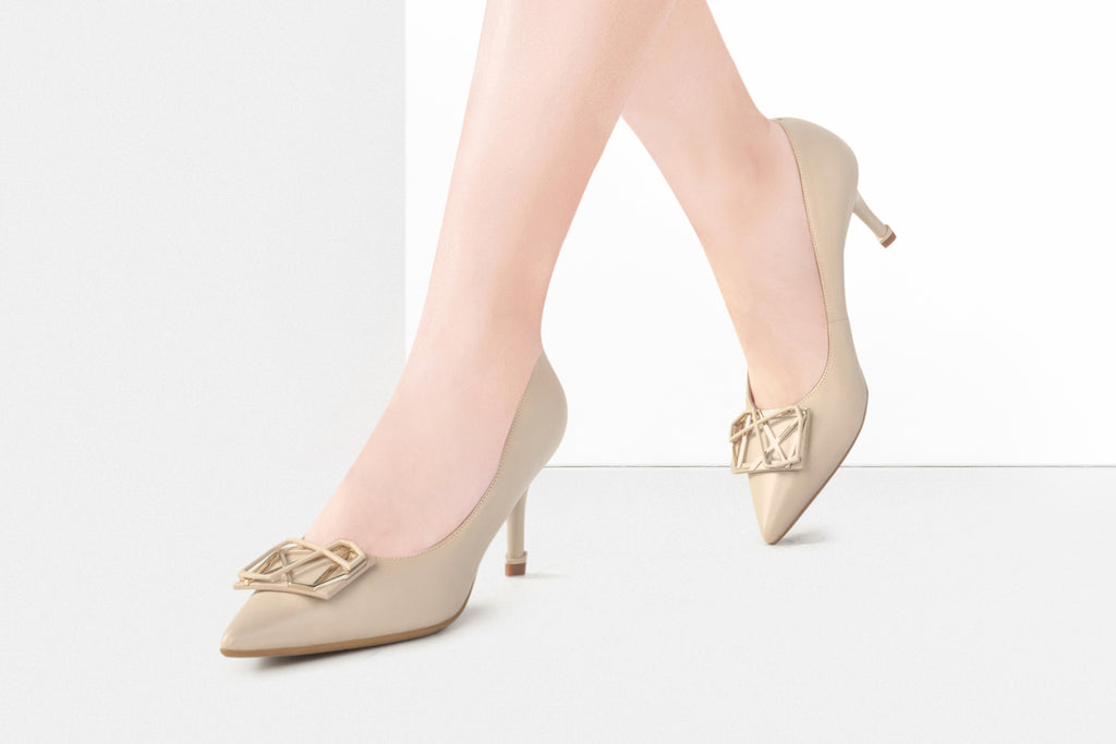Millennium Wheel Leather Pumps - Beige AT70106