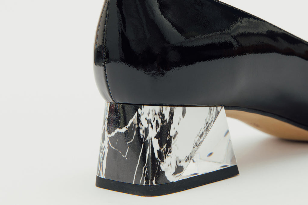 Leather Block-Heel Pumps with marble detail - Black